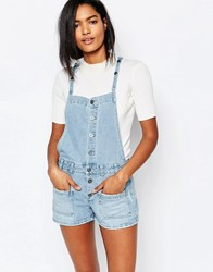 Vila Denim Button Front Romper Light Blue Denim