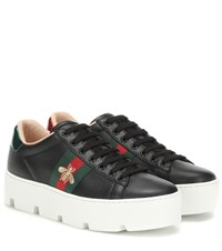 Gucci Ace Leather Platform Sneakers Black