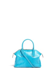 Zagliani 'Tomodachi' Mini Python Leather Shoulder Bag Blue