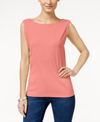 Karen Scott Petite Boat Neck Sleeveless Top Only At Macy's Coral Lining