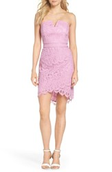 Adelyn Rae Strapless Lace Dress Lilac