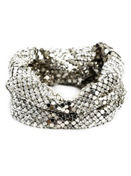 Michael Schmidt Crystal And Mesh Bracelet Metallic