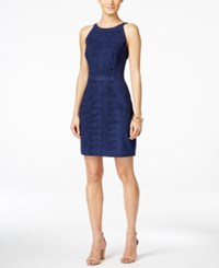Vakko For Inc International Concepts Faux Suede Laser Cutout Sheath Dress Only At Macy's Vakko Navy