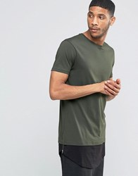 Asos Super Longline T Shirt With Curved Hem Extender And Side Zips In Army Green Army Green