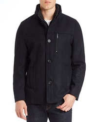 Kenneth Cole Wool Blend Button Front Jacket Navy