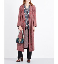 Burberry Paisley Print Silk Satin Coat Berry Red
