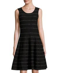 Carmen Carmen Marc Valvo Fit And Flare Metallic Striped Dress Black Silver