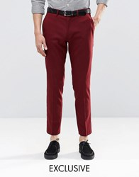 Only And Sons Skinny Suit Trousers With Stretch Burgundy Red
