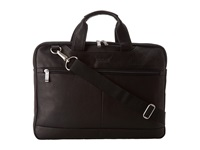 Kenneth Cole Reaction Colombian Leather 2.5 Double Gusset Top Zip Computer Case Black Bags