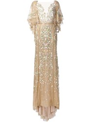 Marchesa Embroidered Flower Gown Nude And Neutrals