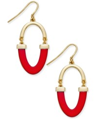 Charter Club Gold Tone Contrast Oval Drop Earrings Only Ay Macy's Red