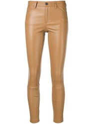 Theory Skinny Leather Trousers Brown