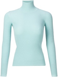 Giambattista Valli Ribbed Turtle Neck Sweater Blue