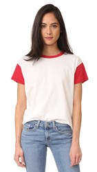 Rag And Bone Colorblocked Crew Tee Blanc Red