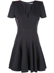 Alexander Mcqueen Structured Shoulder Dress Blue