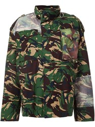 Off White Camouflage Print Jacket Green