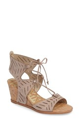 Dolce Vita Women's Langly Perforated Wedge Sandal Taupe Nubuck Leather