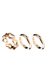 Asos Heart And Band Ring Pack Gold