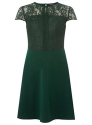 Dorothy Perkins Green Lace Top Skater Dress