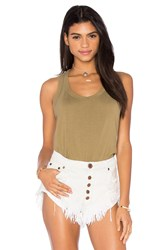 Wilt Lux Cotton Mock Layer Tank Green