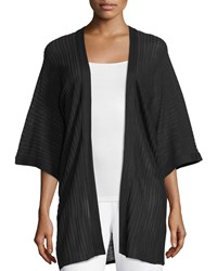 Misook Ribbed 3 4 Sleeve Cardigan Black