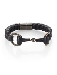 Gucci Braided Leather And Sterling Silver Horse Bit Bracelet Black Brown