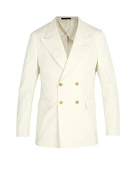 Dunhill Double Breasted Cotton Blazer White