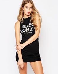 Reason Homies Sleeveless T Shirt Tank Vest With Holographic Print Black