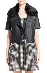 Shrimps Women's Philip Laser Cut Faux Leather Jacket With Detachable Faux Fur Collar