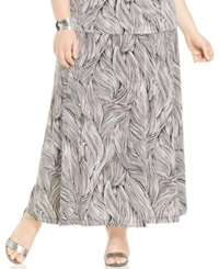 Kasper Plus Size Printed Knit Maxi Skirt White Black