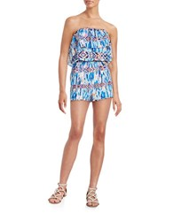 Design Lab Lord And Taylor Printed Strapless Romper Blue Multi