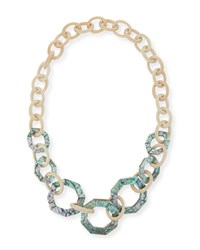 Viktoria Hayman White Wood And Abalone Link Necklace Gold