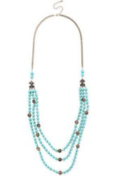 Kenneth Jay Lane Woman Gold Tone Stone And Bead Necklace Turquoise