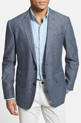 Wallin And Bros Trim Fit Cotton And Linen Blazer Blue