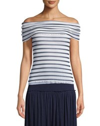 Fuzzi Striped Tulle Off The Shoulder Top Coco
