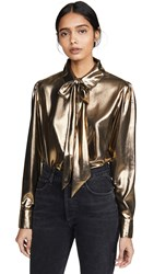 7 For All Mankind Lame Blouse Liquid Gold