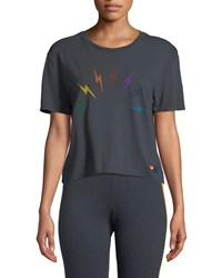 Aviator Nation Sunset Bolt Cropped Boyfriend Tee Charcoal
