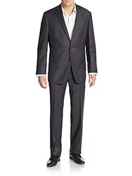 Calvin Klein Slim Fit Solid Wool And Silk Suit Charcoal