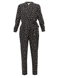 Rebecca Taylor Dot Print Wrap Around Silk Blend Jacquard Jumpsuit Black White