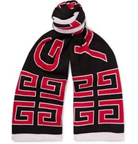 Givenchy Logo Jacquard Double Faced Cotton Scarf Black
