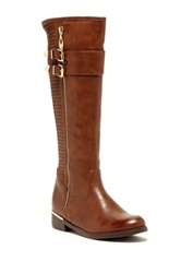 Godiva Amanda Buckled And Quilted Riding Boot Brown