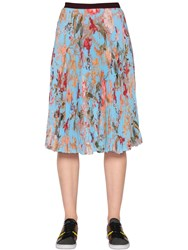 I'm Isola Marras Pleated Floral Techno Chiffon Skirt