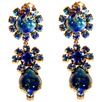 Alice Joseph Vintage 1950S Art Glass Stone Drop Earrings Blue