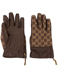 Gucci Pre Owned Logos Gloves Brown