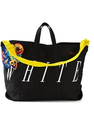 Off White Patched Stripe Tote Black