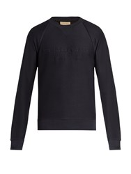 Burberry Coleford Logo Embroidered Jersey Sweatshirt Navy