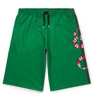 Gucci Printed Cotton Blend Tech Jersey Shorts Green