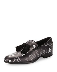 Jimmy Choo Foxley Multi Logo Print Tassel Loafer Black White