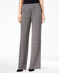 Ny Collection Petite Printed Pull On Pants Onyx Zigbr