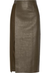 Jason Wu Croc Effect Leather And Wool Midi Skirt Army Green